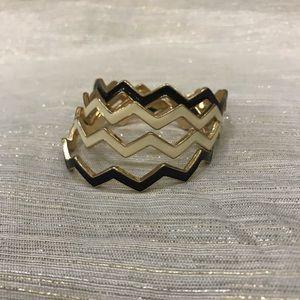 Four Stackable Black & White Wave Bracelets